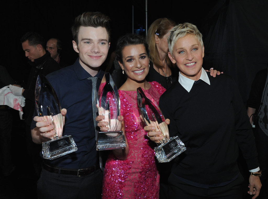 Chris Colfer, Lea Michele, and Ellen DeGeneres