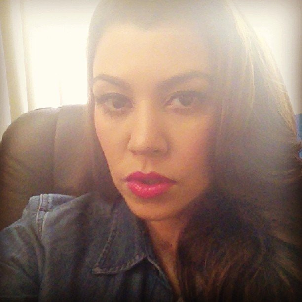Kourtney Kardashian showed off her hot-pink lipstick. Source: Instagram user kourtneykardash