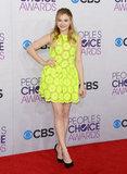 Chloe Moretz went bright in a neon look.