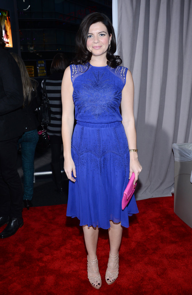 Happy Ending's Casey Rose Wilson chose a feminine, waist-cinching silhouette in a brilliant blue hue.