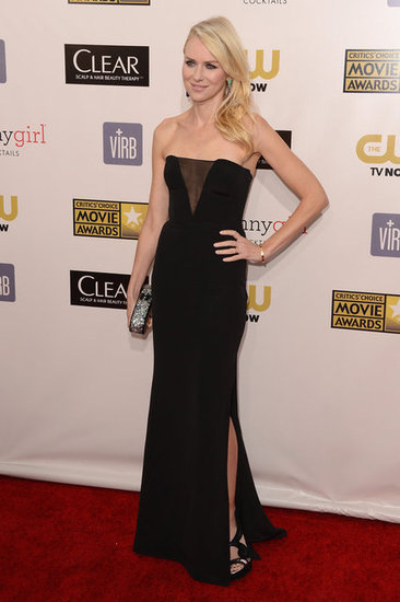 Naomi Watts wore a sexy black Emilio Pucci gown to the Critics' Choice Awards.