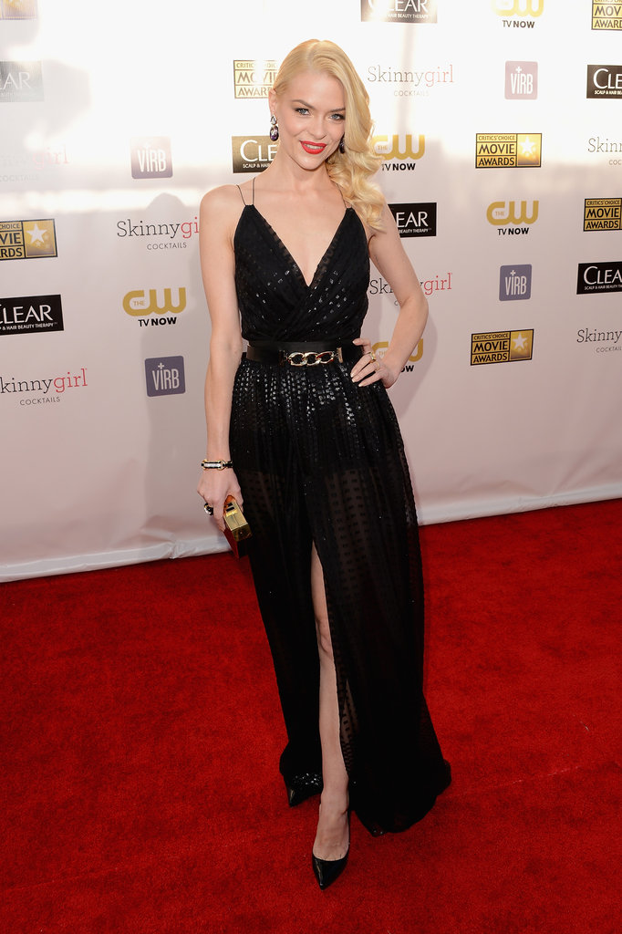Jamie King wore a black gown with a high slit on the red carpet.