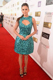 Nina Dobrev chose an embellished teal dress for the Critics' Choice Awards.