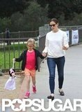 Jennifer Garner and Violet Affleck walked hand in hand.