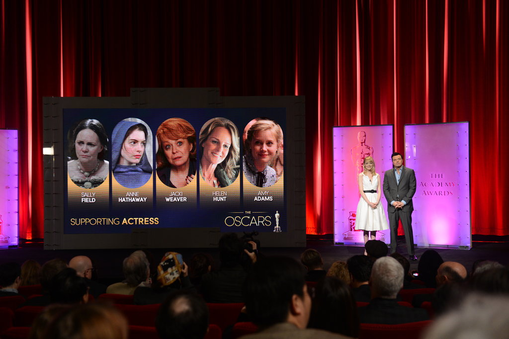 Emma Stone and Seth MacFarlane presented the Oscars nominees.