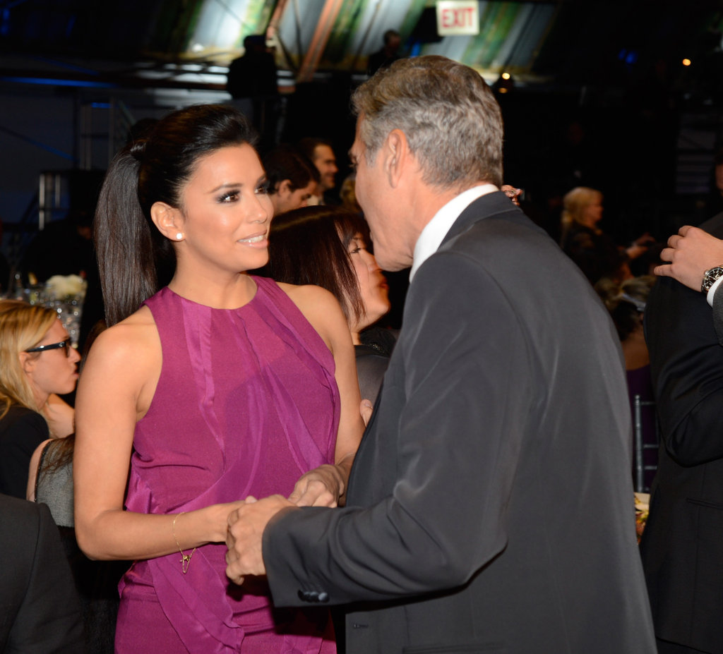 George Clooney and Eva Longoria chatted backstage.