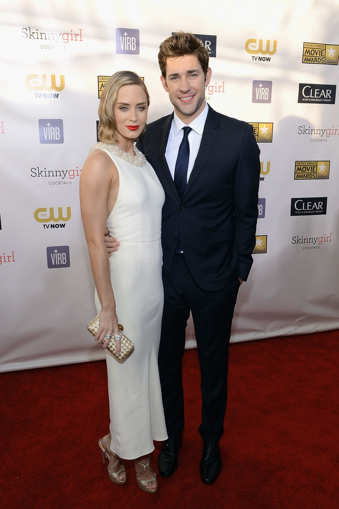 Emily Blunt posed with John Krasinski on the red carpet.