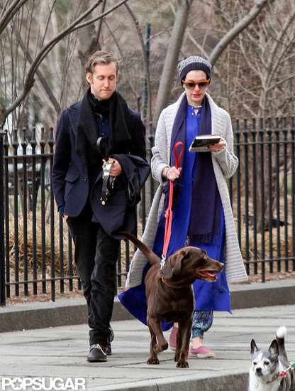 Anne Hathaway and Adam Shulman took a stroll with their dog in NYC.