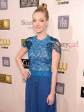 Amanda Seyfried wore a blue Marios Schwab lace gown for the Critics' Choice Awards.