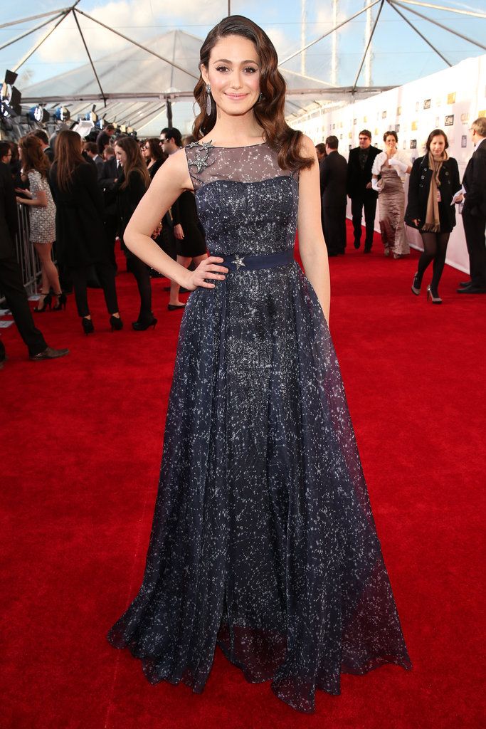 Emmy Rossum looked as pretty as a picture in this star-print gown by Carolina Herrera.