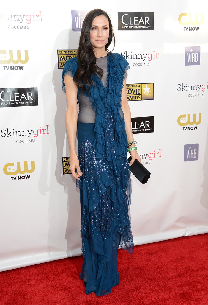Famke Janssen rocked some serious metallic ruffles via her dynamic John Galliano dress on the red carpet.