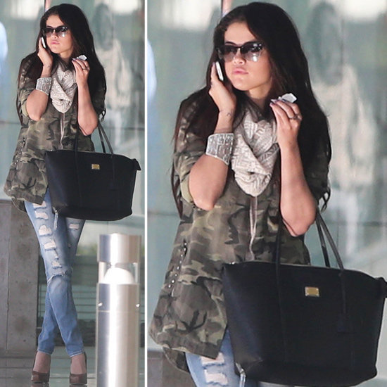 Selena Gomez gave her day look a jolt of camo.