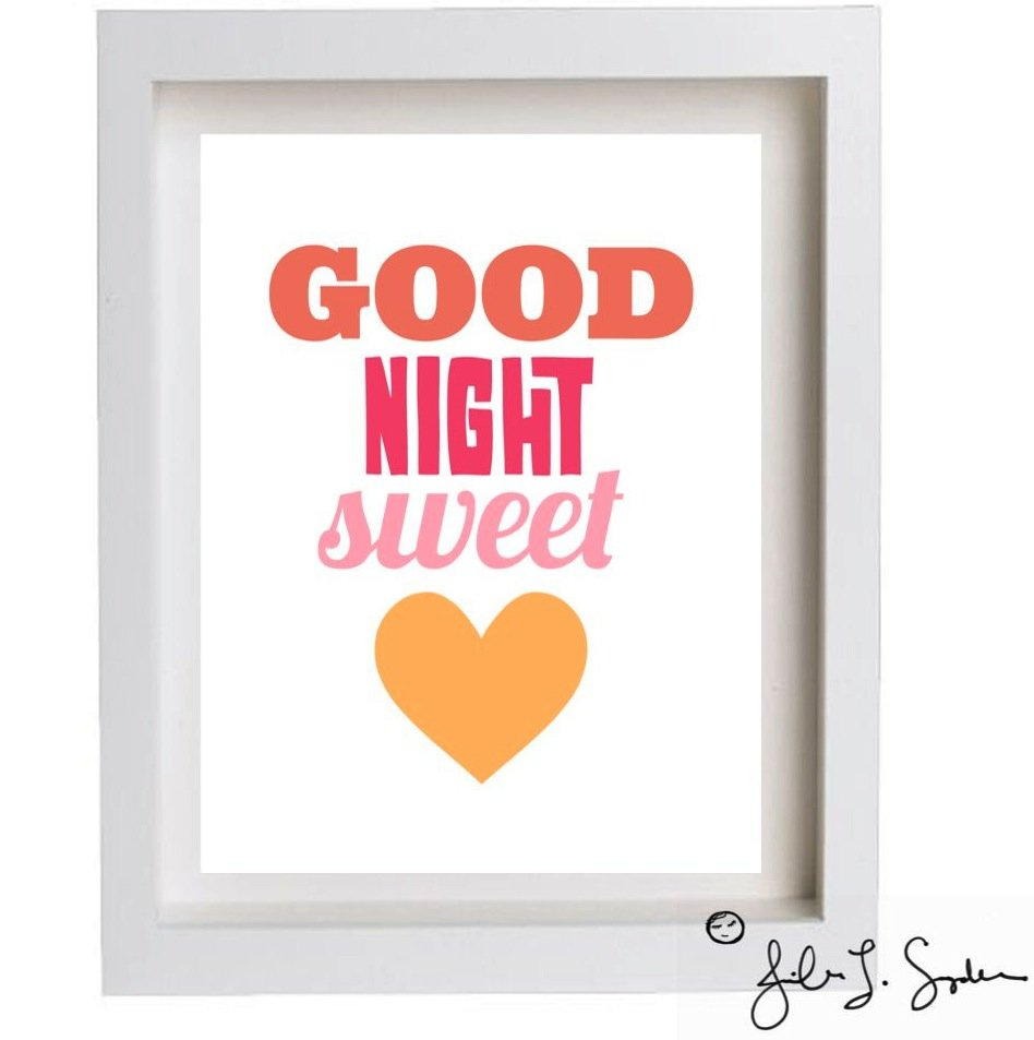 Area Fare Kids Good Night Sweet Heart Print