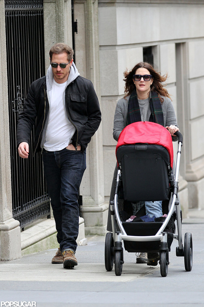 Drew Barrymore and Will Kopelman walked with their daughter, Olive Kopelman.