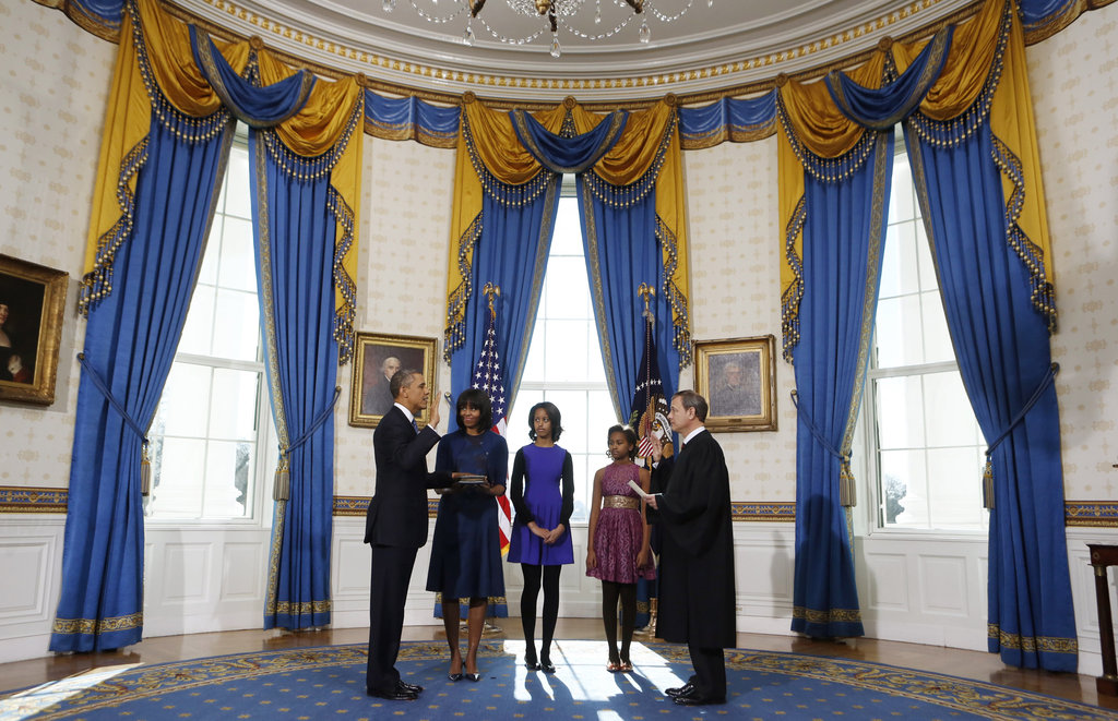 President Barack Obama had his family with him during his private swearing-in ceremony.