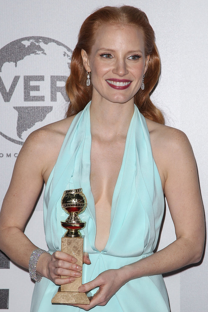 Jessica Chastain wore a dress with a plunging neckline.