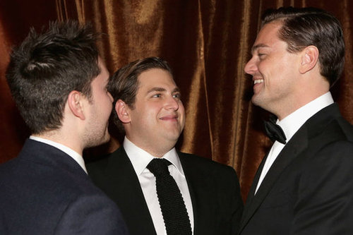 Jonah Hill and Leonardo DiCaprio chatted with a pal at the Weinstein Company bash.