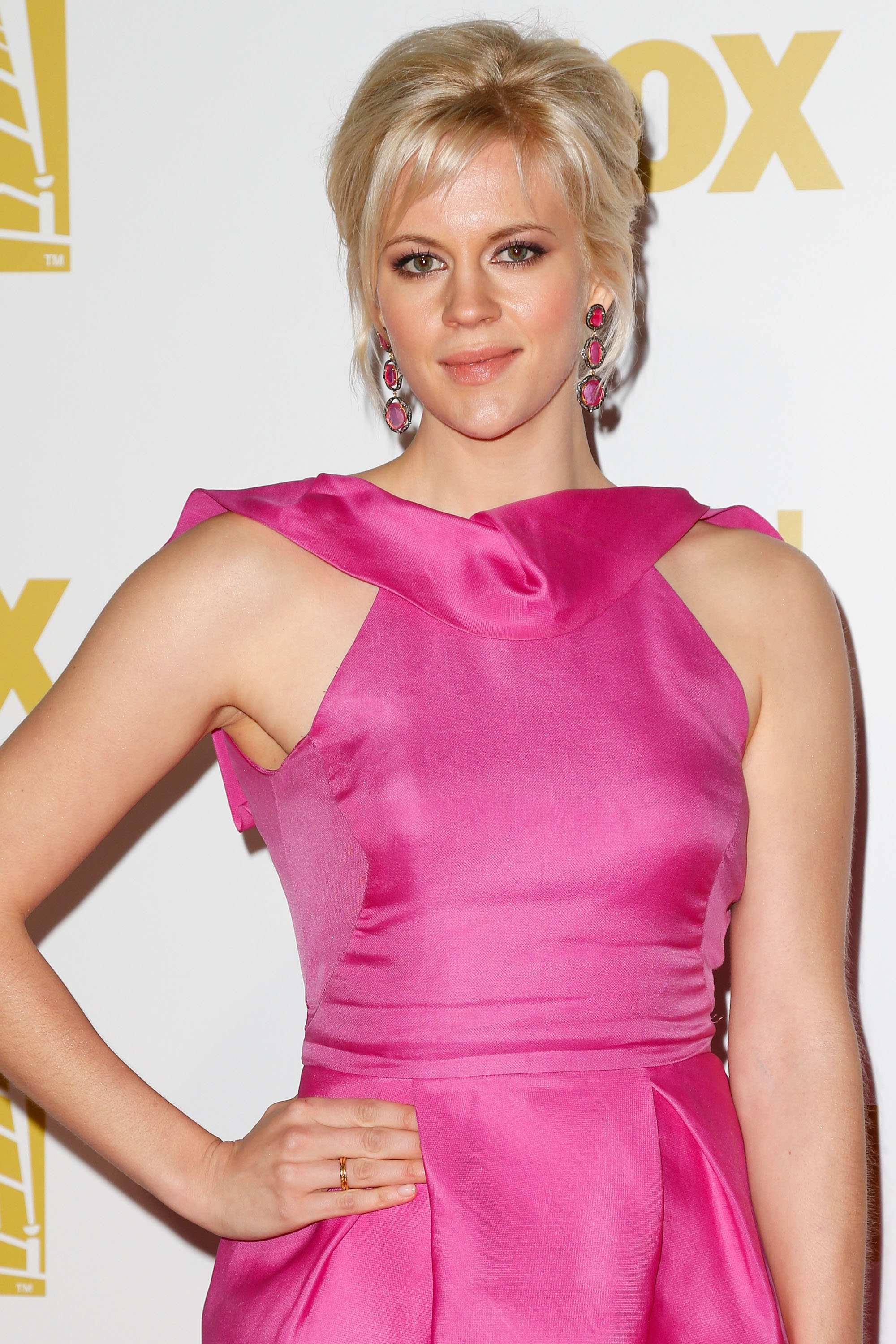 Georgia King wore pink to the Fox after party.