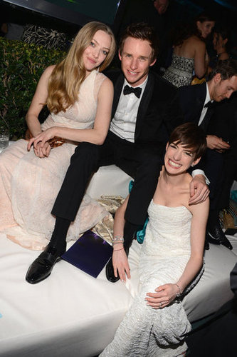 Amanda Seyfried, Eddie Redmayne, and Anne Hathaway lounged at NBC's post-Globes party.