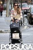 Lily Aldridge pushed a stroller around NYC.