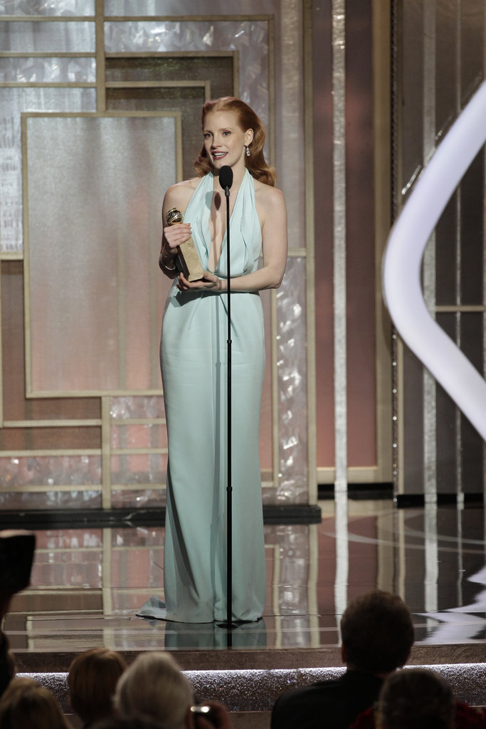 Jessica Chastain won for best actress in a motion picture, drama.