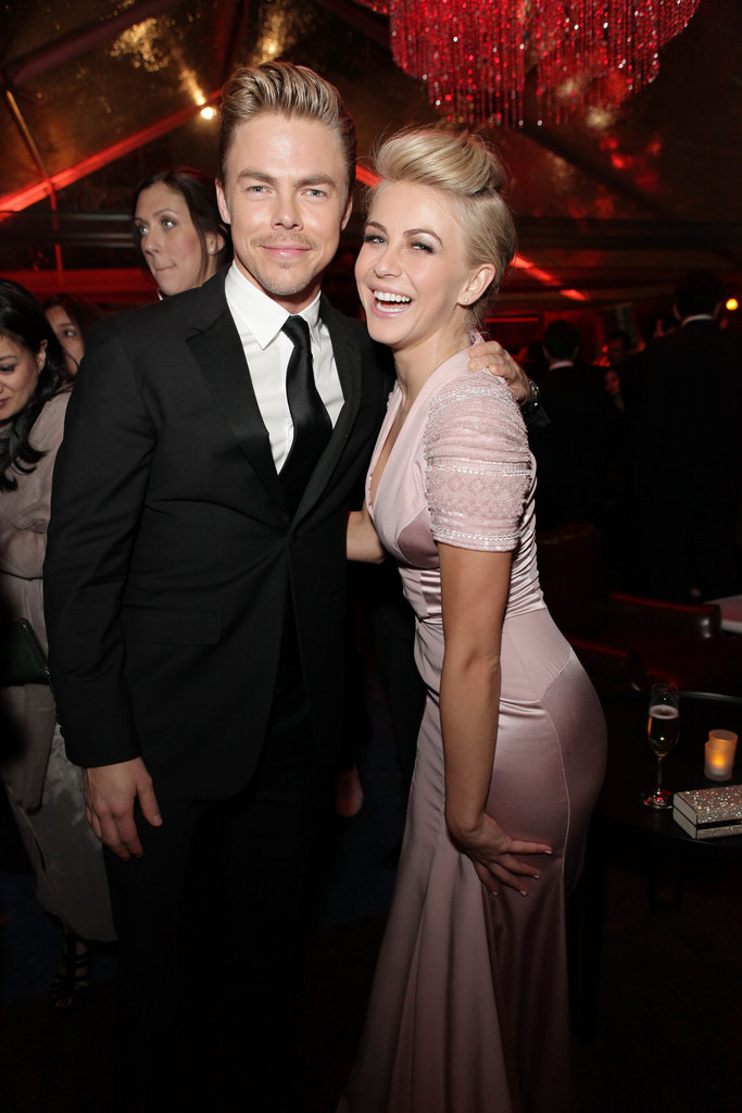 Siblings Julianne and Derek Hough smiled big while celebrating at the Weinstein Company party.
