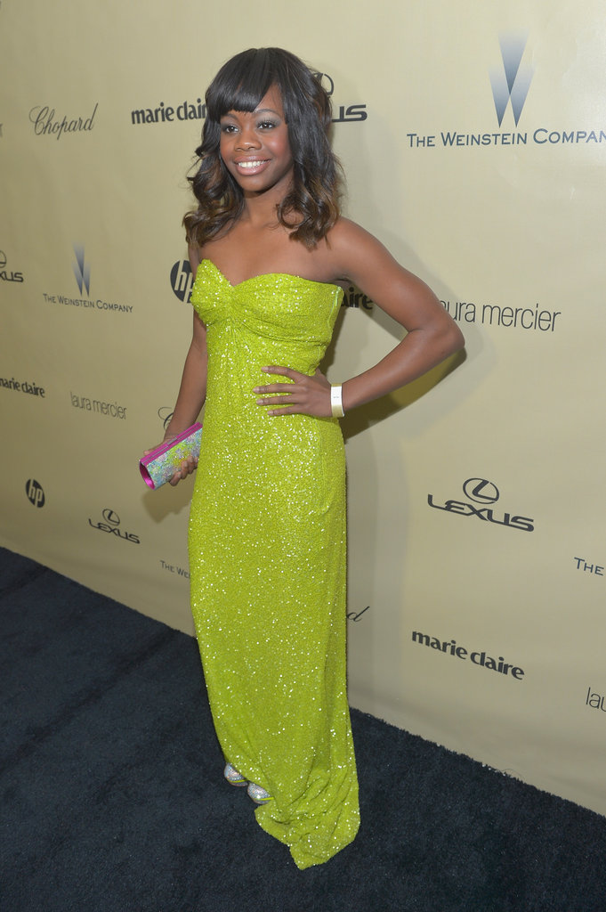 Gabrielle Douglas played up her youthful vibrance in a strapless citron-hued dress, only accessorising with minimal pieces.