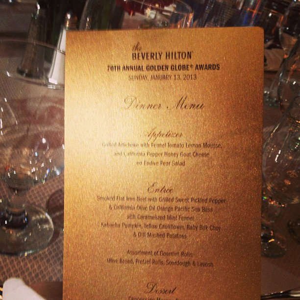 They eat carbs! A close look at tonight's menu. Source: Twitter user goldenglobes