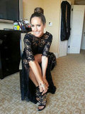 Louise Roe wears embellished Zara heels with her lace Globes dress. Source: Twitter user louiseroe