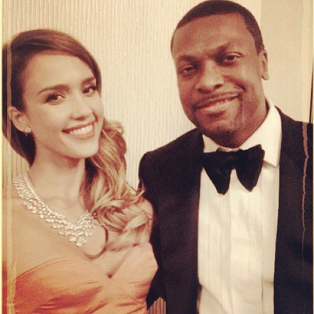 Jessica Alba posed with Silver Linings Playbook's Chris Tucker at the Golden Globes. Source: Instagram user jessicaalba