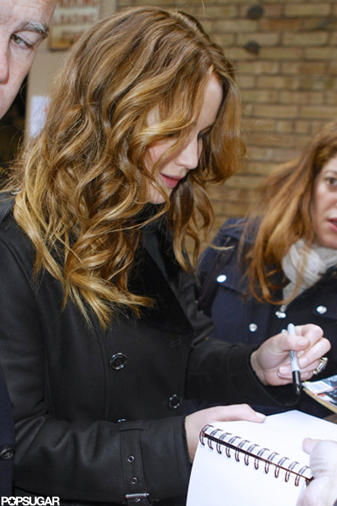 Jennifer Lawrence signed autographs during a morning chat show.