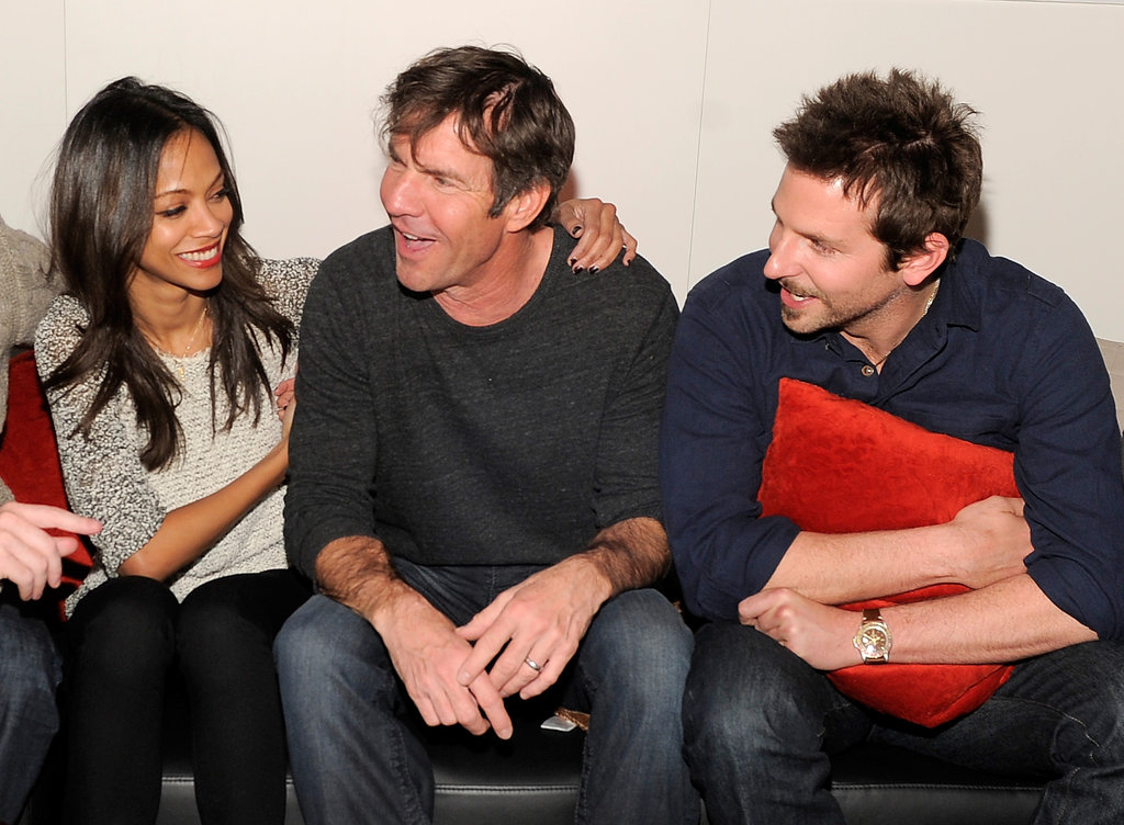 Zoe Saldana, Dennis Quaid, and Bradley Cooper cuddled up on a couch between interviews during Sundance weekend 2012.