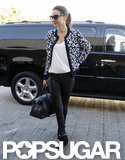 Miranda Kerr wore a black-and-white jacket.