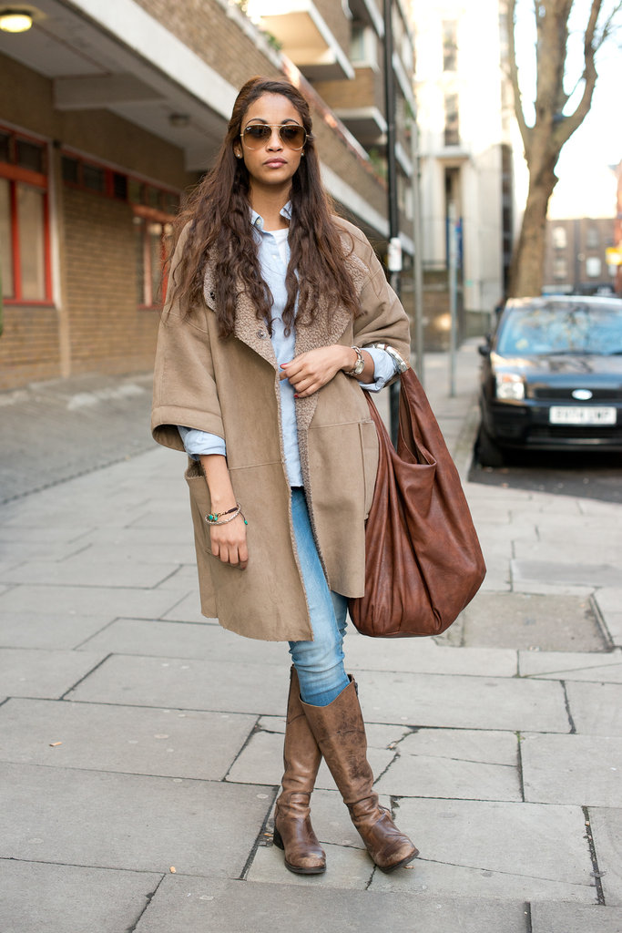 We'll always be a fan of this classic, chic combo: camel and denim.