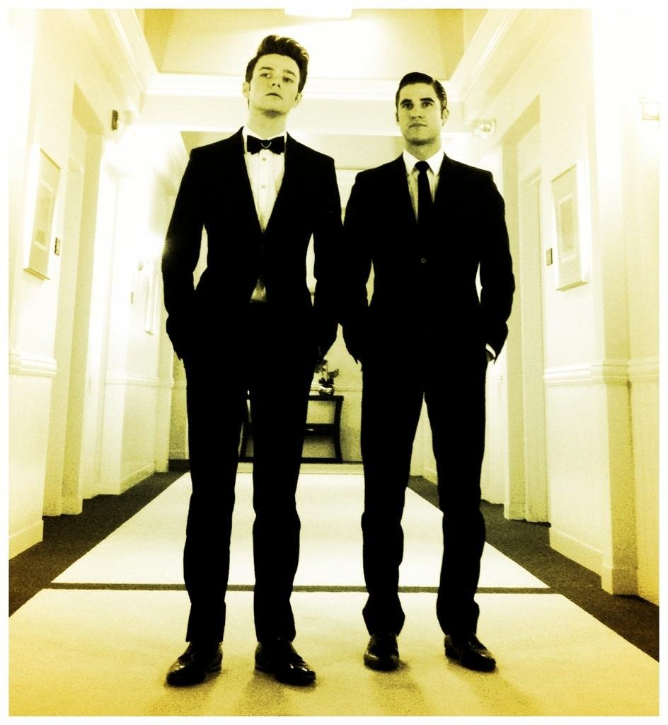 Ryan Murphy teased a dashing picture of Chris Colfer and Darren Criss.  Source: Twitter user MrRPMurphy