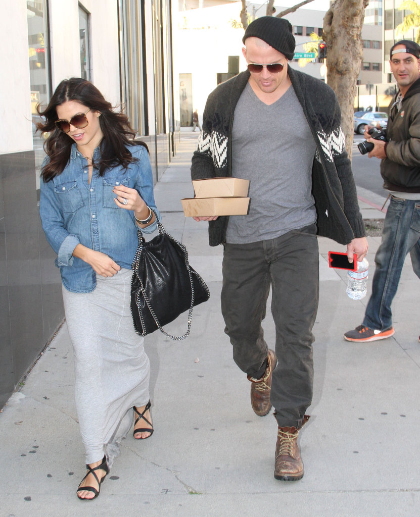 Channing Tatum showed off his newly buzzed head for a lunch date with pregnant Jenna Dewan in LA.