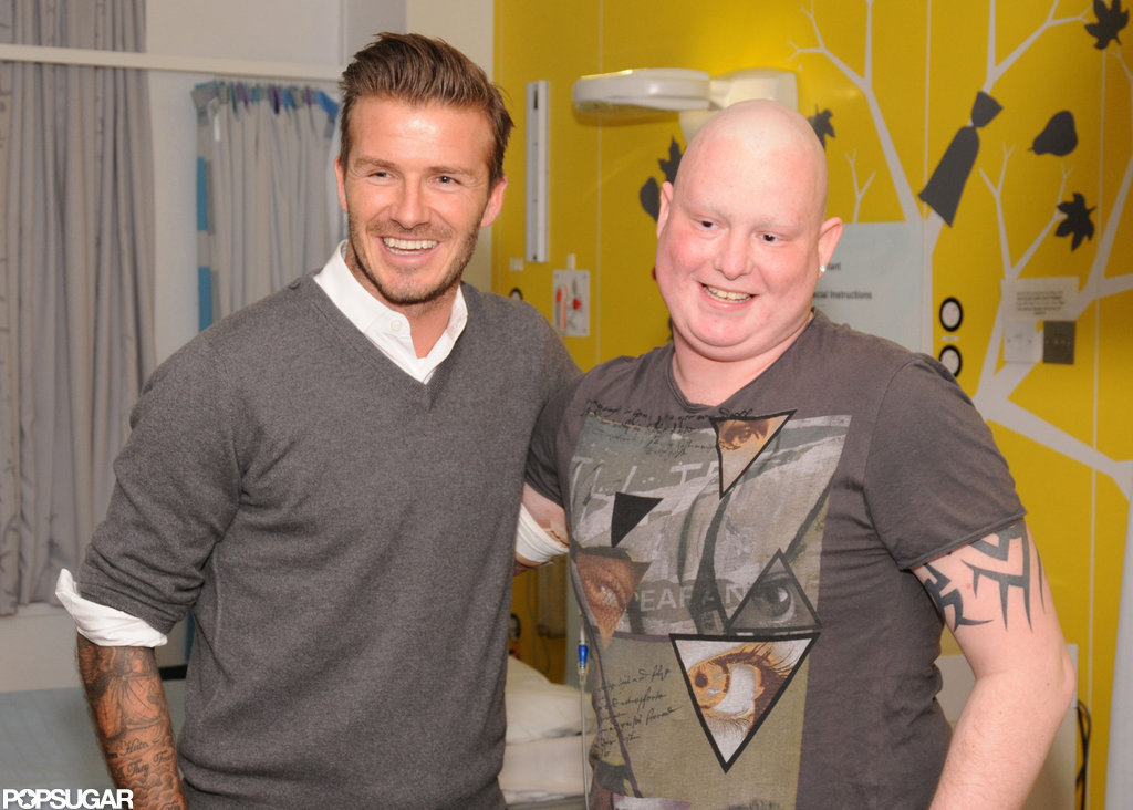 David Beckham took photos with cancer patients at Queen Elizabeth Hospital.