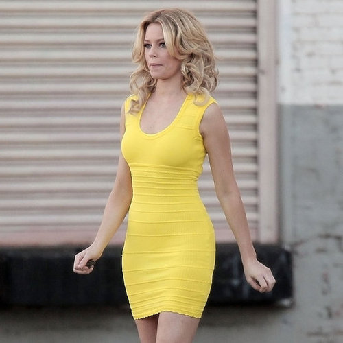 Elizabeth Banks Filming Walk of Shame in a Yellow Dress