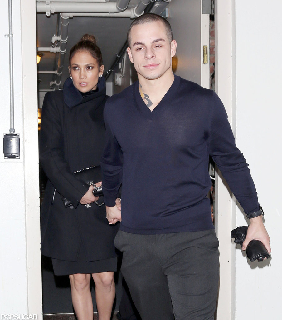 Jennifer Lopez and Casper Smart left Madeo restaurant holding hands.