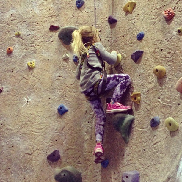 Stella McDermott practiced her rock climbing skills. Source: Instagram user torianddean