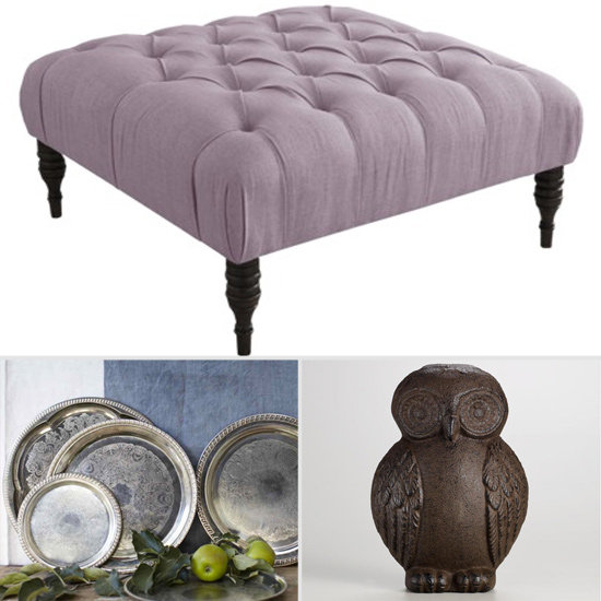 Get the look:  If space is an issue, try a shrunken version like this lavender ottoman ($247). These vintage silver trays ($24-$59) can help keep drinks or candles and flower-filled vases steady. No hearth? No problem. Anchor this owl ($10) for a charming doorstop.