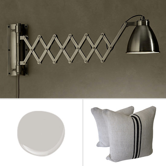 Get the look: Illuminate a gallery wall (or the pages of a good book) with a pair of these accordion sconces ($160, originally $219). Reinforce a vintage vibe with a grain-sack pillow ($389) or two. More interesting than white, Mythic Paint's Grey Rain feels soothing yet sophisticated.