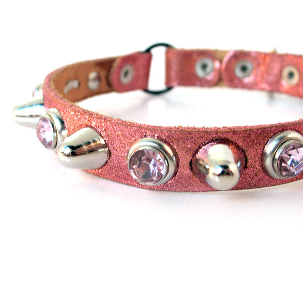Tough Girl Glitter Leather Cat Collar