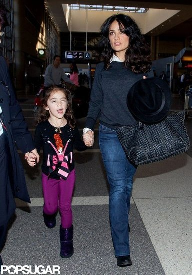 Salma Departs LA With Valentina Following a Globes Slipup
