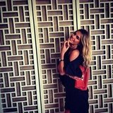 Jennifer Hawkins showed off a brand new Summer clutch. Source: Instagram user jenhawkins_