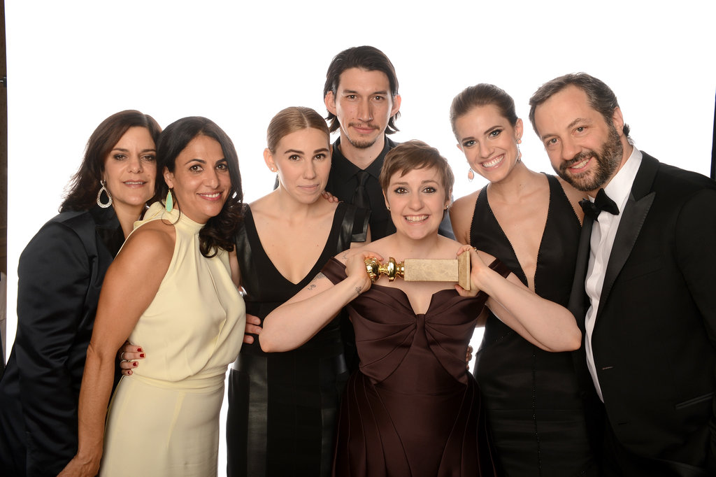 Lena Dunham, Judd Apatow and some of the cast and crew of Globe-winning show Girls celebrated their wins backstage on January 13.