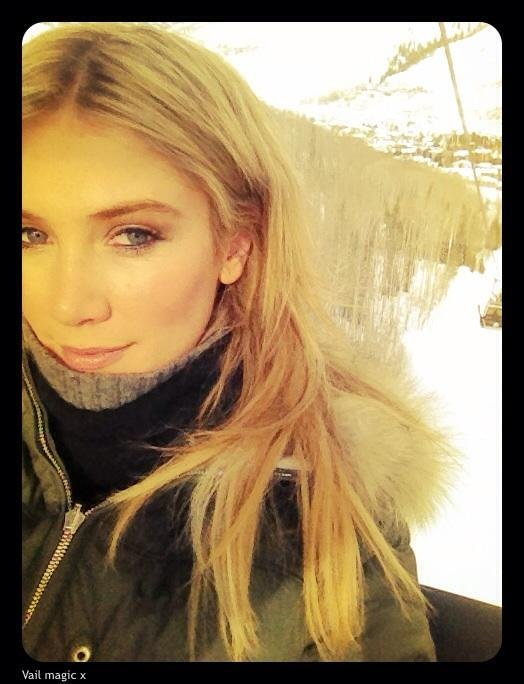 Delta Goodrem rugged up for a day in the snow. Source: Twitter user delta_goodrem