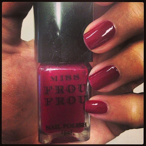 Alison went for a deep pinky-red with Miss Frou Frou's nail polish in Raspberry.