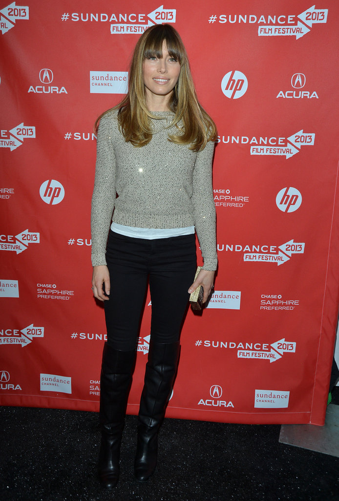 Jessica Biel wore a gold sweater.