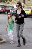 Courteney Cox and Coco walked to a market in Malibu.